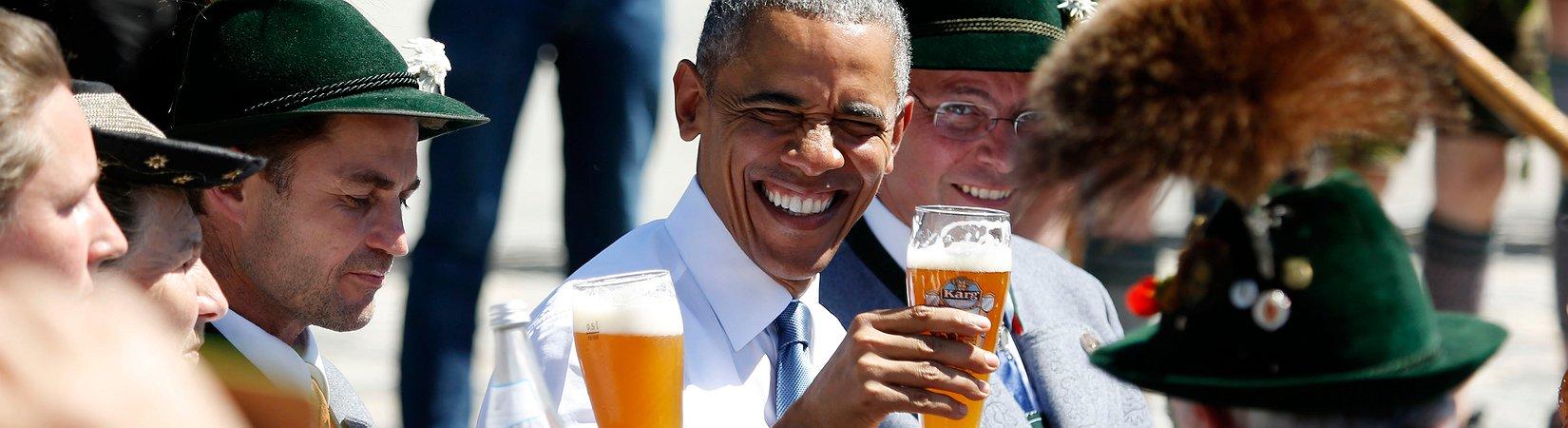 Deutschen Landwirt lässt Bier mit Obama kalt