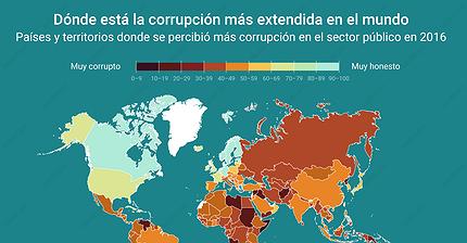 Gráfico del día: Dónde está la corrupción más extendida en el mundo
