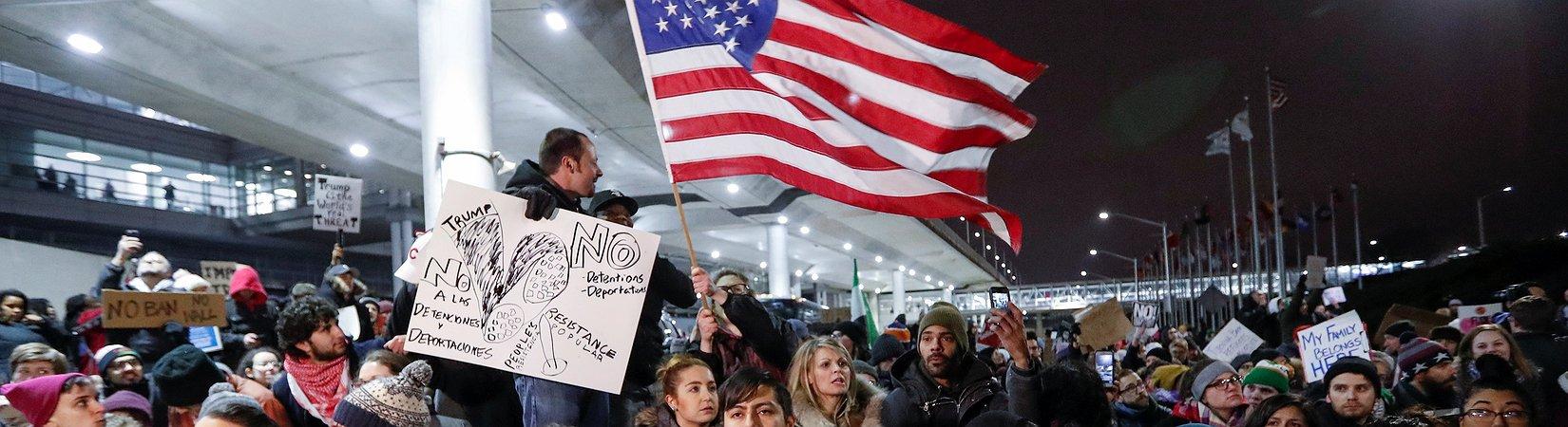 المظاهرات المناوئة لسياسة ترامب في الهجرة