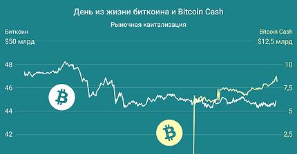 График дня: Сутки из жизни биткоина и Bitcoin Cash