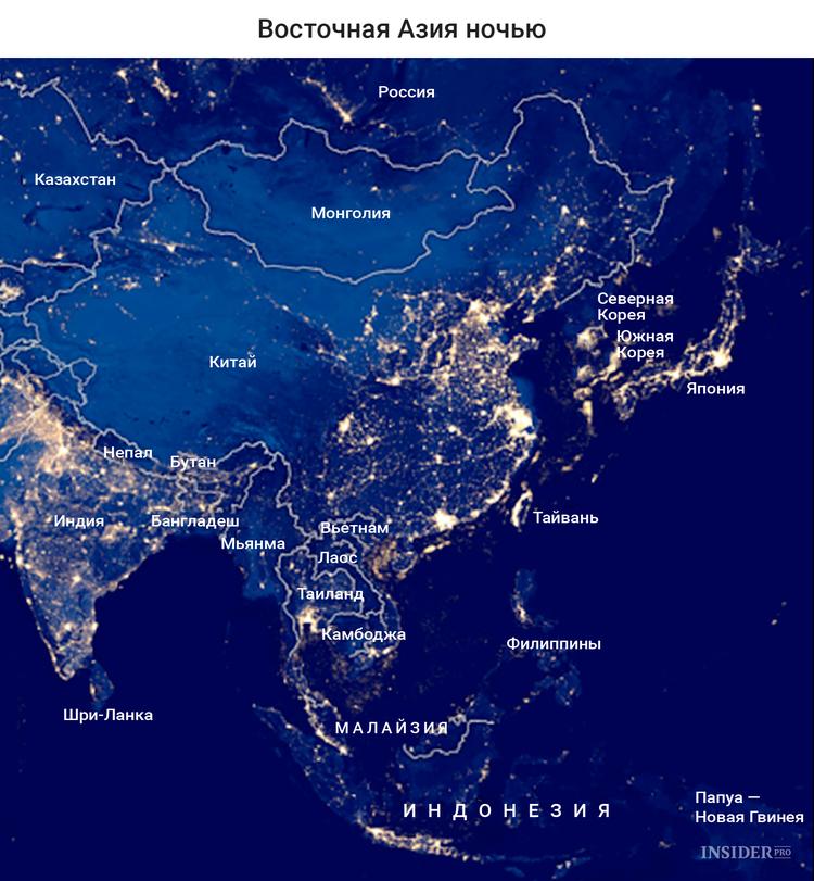 Восточная Азия ночью