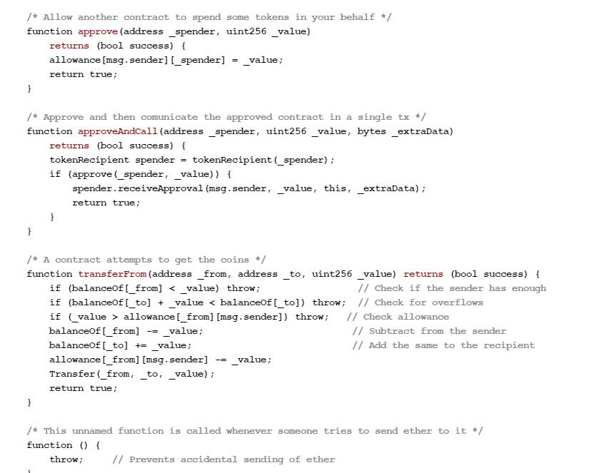 Образец умного контракта, написанного на платформе Ethereum