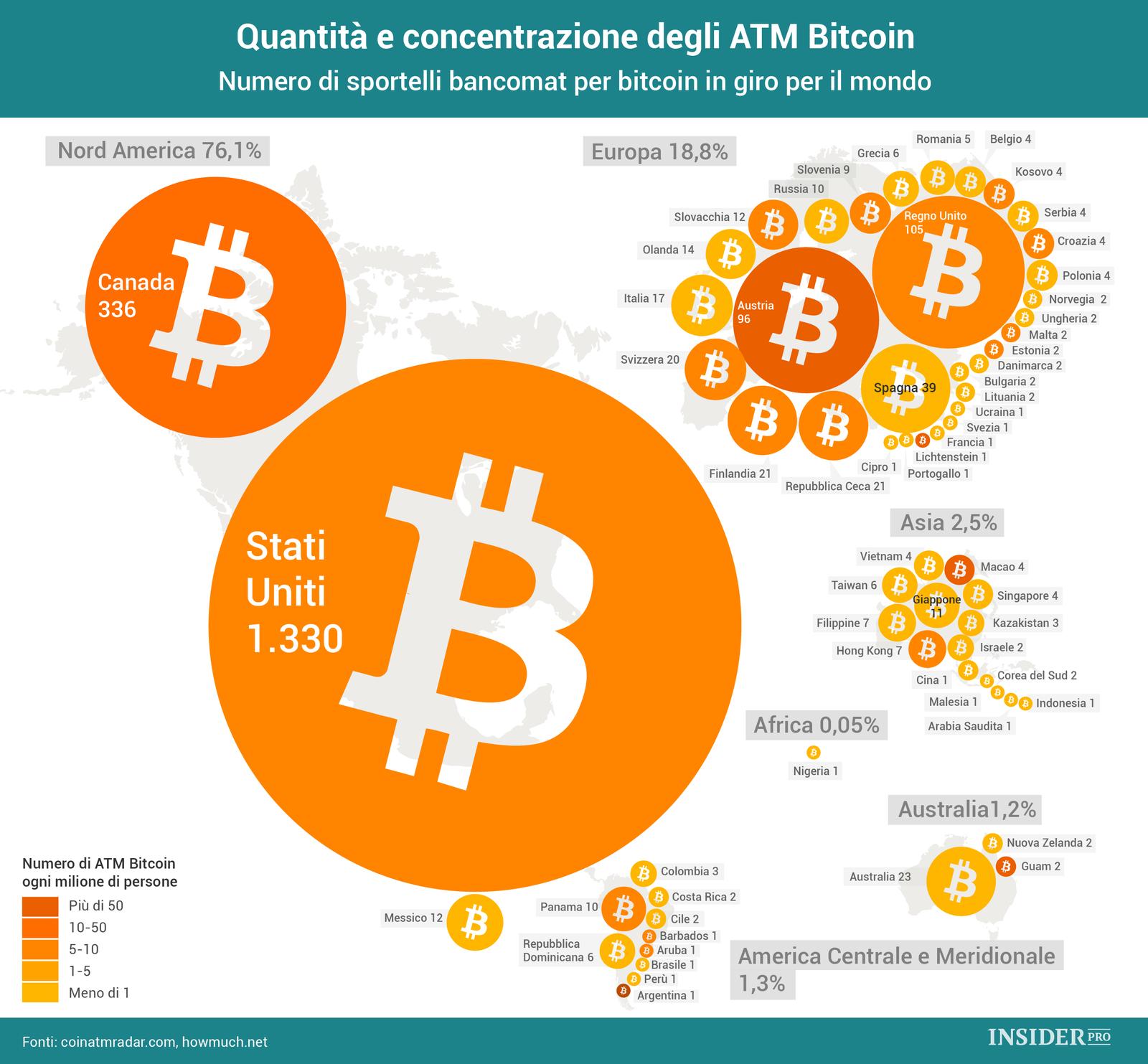 Quanti bancomat bitcoin ci sono nel mondo infografica for Quanti deputati ci sono