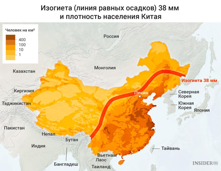 Линия осадков и плотность населения Китая
